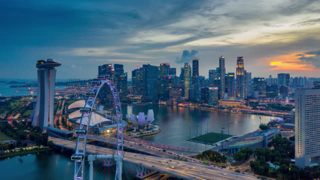 hyperlapse or dronelapse scene of singapore business district downtown at sunset - panoramic stock videos & royalty-free footage
