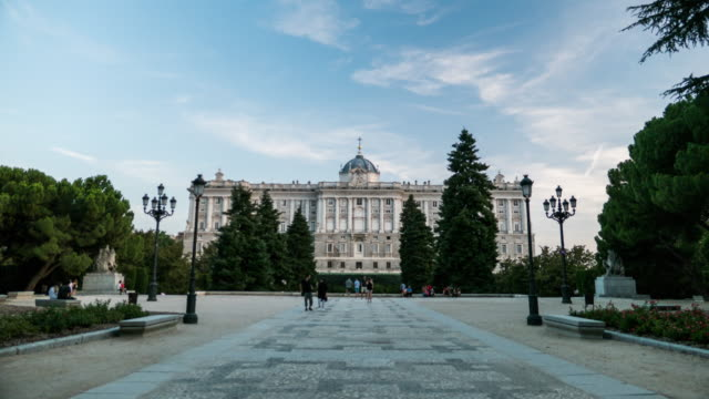 hyperlapse palacio real madrid sunset and night with lights - madrid stock videos and b-roll footage