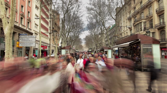 tl hyperlapse ramblas day - barcelona stock-videos und b-roll-filmmaterial