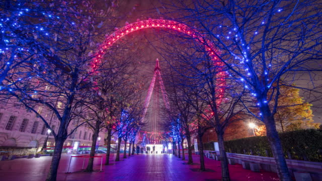 t/l hyperlapse shot of the london eye at night - london england stock videos and b-roll footage