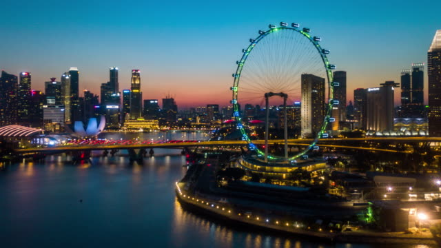 stockvideo's en b-roll-footage met hyperlapse singapore business district downtown in schemer - singapore