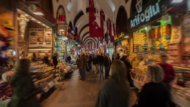 tl hyperlapse spice bazaar - turchia video stock e b–roll