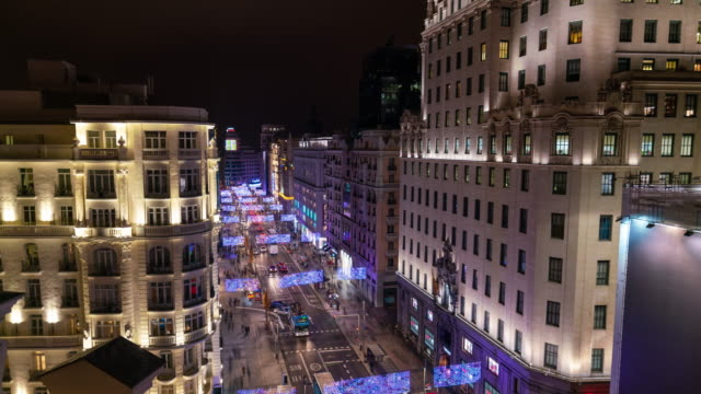 Hyperlapse the Gran via christmas light in Madrid from roof top terrace