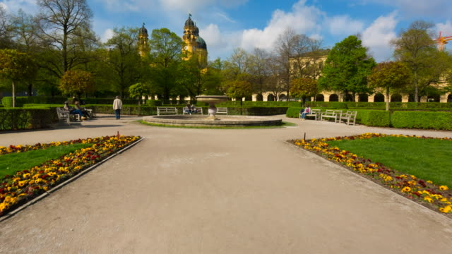 pov hyperlapse through munich hofgarten gardens - bavaria stock videos & royalty-free footage