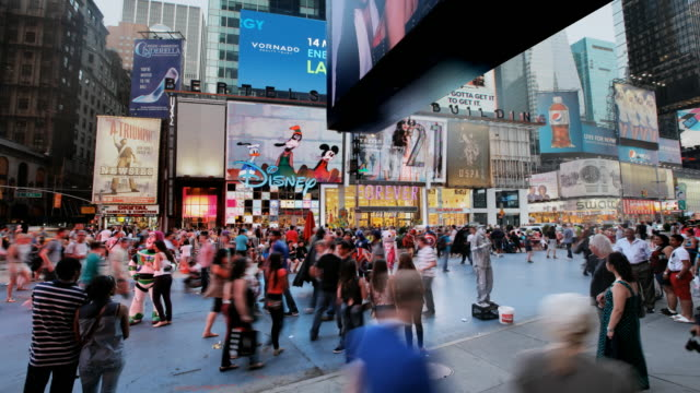 hyperlapse through times square at sunset - times square manhattan bildbanksvideor och videomaterial från bakom kulisserna