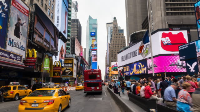 hyperlapse through times square traffic - led light stock videos & royalty-free footage