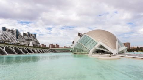 vídeos y material grabado en eventos de stock de valencia - circa 2013: hyperlapse, time lapse of city of arts and sciences on a sunny and cloudy day in valencia, spain - arte