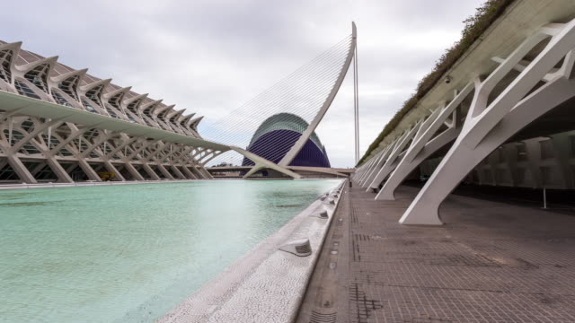 valencia - circa 2013: hyperlapse, time lapse of city of arts and sciences on a sunny and cloudy day in valencia, spain - 2013 stock-videos und b-roll-filmmaterial
