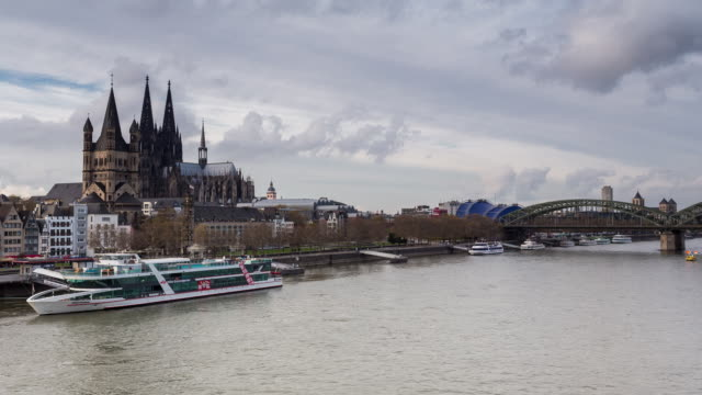COLOGNE - CIRCA 2013: Hyperlapse, Time Lapse of Cologne cathedral and Deutzer bridge during a cloudy and sunny day in Cologne, Germany