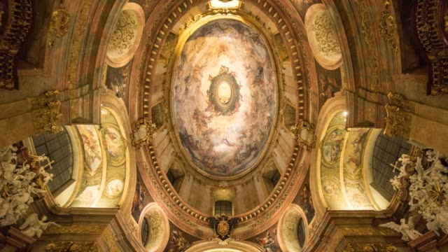 hyperlapse timelapse ceiling of the interior of national history museum, vienna, austria, europe. - time-lapse - vienna austria stock videos & royalty-free footage