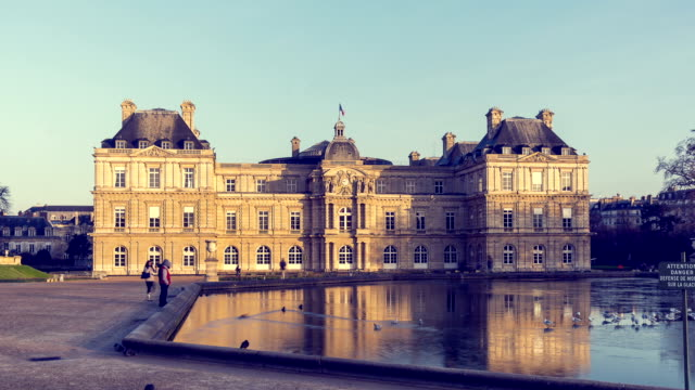 "hyperlapse  / timelapse footage of the ""jardin du luxembourg"" - senate stock videos & royalty-free footage"