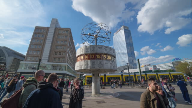 Hyperlapse timelapse of Alexanderplatz with Berliner Fernsehturm tv television tower in Berlin, Germany, Europe. - Time-Lapse
