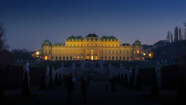 hyperlapse timelapse of belvedere palace, vienna, austria, europe. - time-lapse - belvedere palace vienna stock videos & royalty-free footage