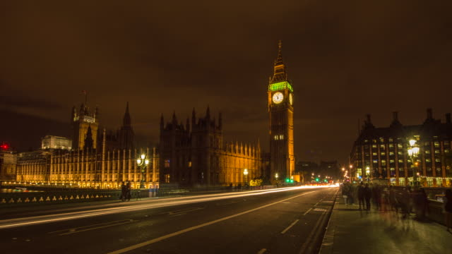 hyperlapse timelapse of big ben and the houses of parliament at night in london, england, uk, europe. - time-lapse - big ben stock videos & royalty-free footage