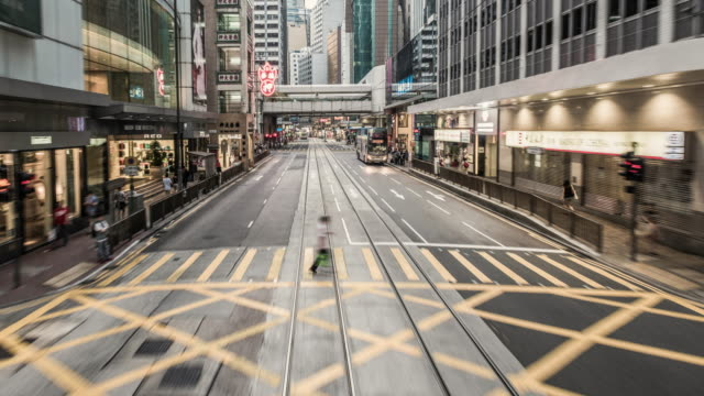 hyperlapse timelapse of central hong kong from moving tram - tram stock videos & royalty-free footage