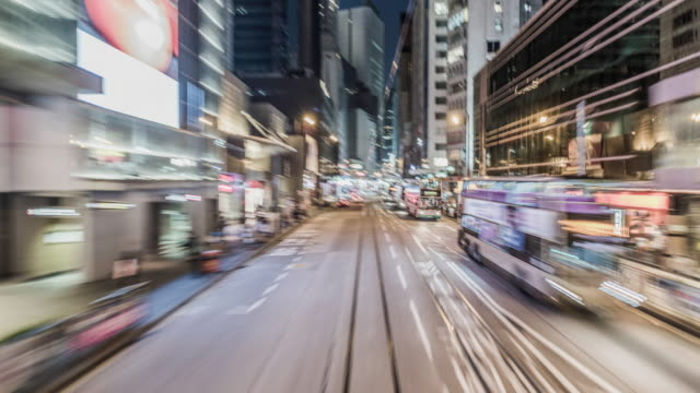 hyperlapse timelapse of central hong kong from moving tram - hong kong island stock videos & royalty-free footage