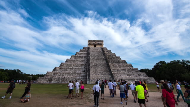 hyperlapse timelapse of el castillo pyramid in chichen itza near cancun, mexico. - time-lapse - cancun stock videos & royalty-free footage