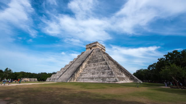 hyperlapse timelapse of el castillo pyramid in chichen itza near cancun, mexico. - time-lapse - mayan stock videos & royalty-free footage