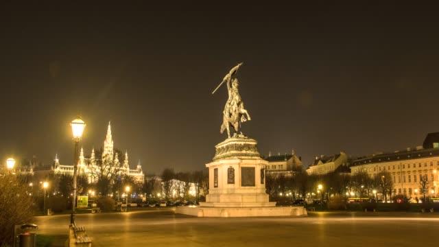 hyperlapse timelapse of erzerhog karl statue vienna, austria, europe. - time-lapse - vienna stock videos & royalty-free footage