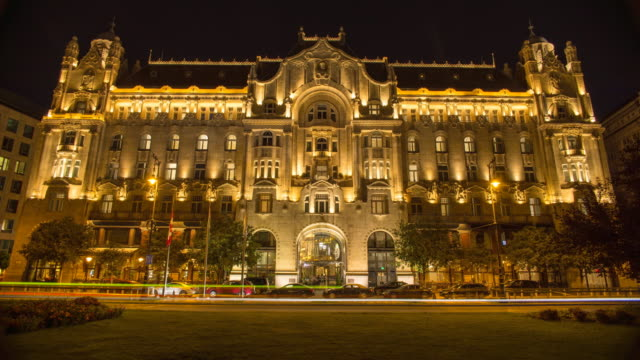 hyperlapse timelapse of gresham palace in budapest, hungary, europe. - time-lapse - budapest video stock e b–roll