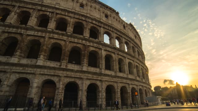 hyperlapse timelapse of roman colosseum at sunset in rome, italy, europe. - time-lapse - amphitheatre stock videos & royalty-free footage