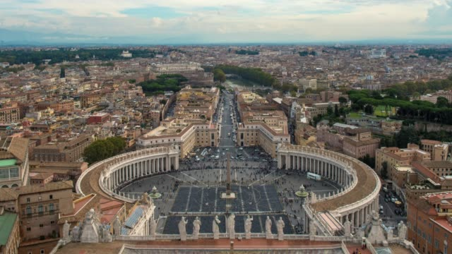 Hyperlapse timelapse of St Peters Square in Vatican City from St Peters Basilica church, Rome, Italy, Europe. - Time-Lapse