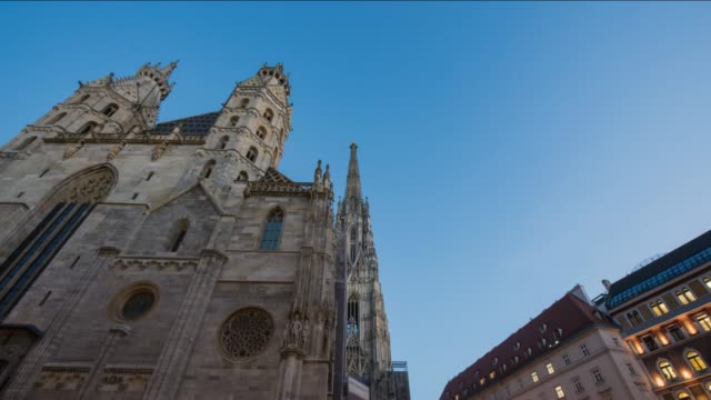 hyperlapse timelapse of stephansdom, st stephens cathedral, vienna, austria, europe. - time-lapse - catholicism stock videos & royalty-free footage