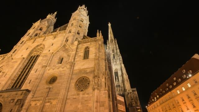 hyperlapse timelapse of stephansdom, st stephens cathedral, vienna, austria, europe. - time-lapse - austria stock videos & royalty-free footage