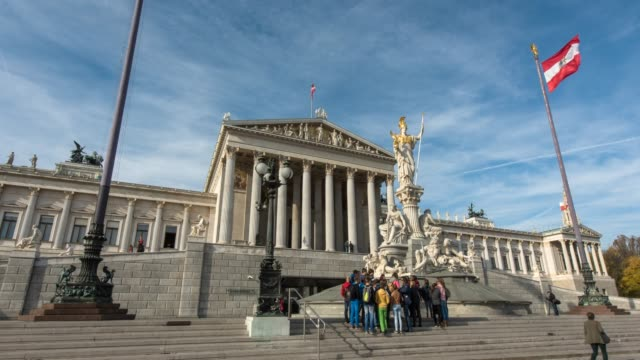 hyperlapse timelapse of the austrian parliament building, vienna, austria, europe. - time-lapse - austria stock videos & royalty-free footage