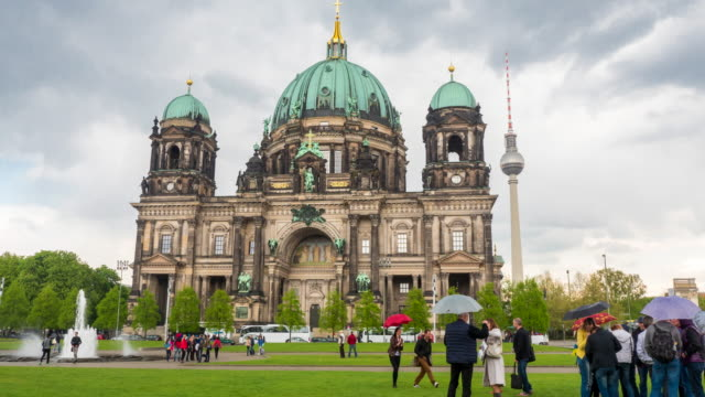 Hyperlapse timelapse of the Berlin Dom, Berlin Cathedral Church and Berliner Fernsehturm tv tower, in Berlin, Germany, Europe. - Time-Lapse