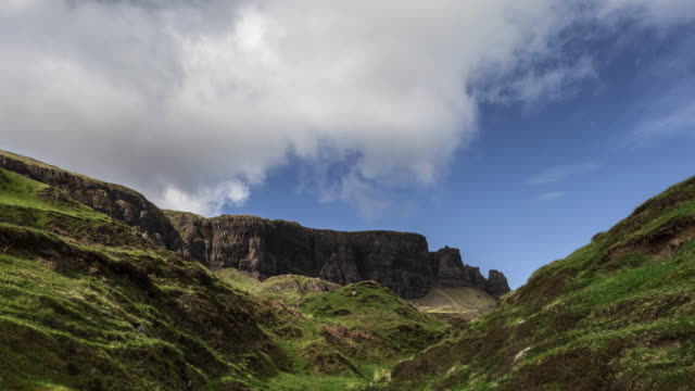 hyperlapse / tl at the quiraing on isle of skye in scotland - extreme terrain stock videos & royalty-free footage