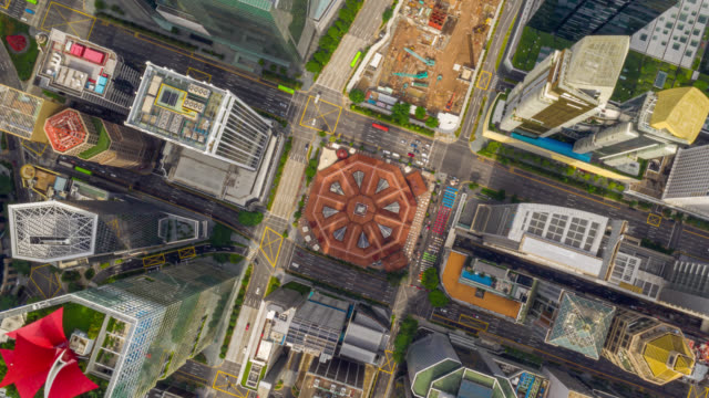 hyperlapse top view of financial central business district building of singapore city at day - singapore stock videos & royalty-free footage