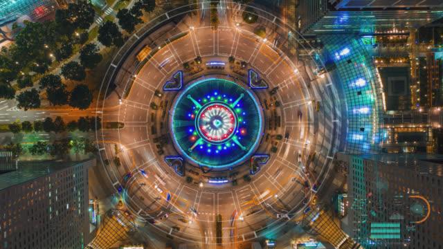 vídeos y material grabado en eventos de stock de hyperlapse vista superior de la fuente de la riqueza como la fuente más grande del mundo en singapur. se encuentra en uno de los centros comerciales más grandes de singapur por la noche. concepto de red futurista en el futuro - punta descripción física