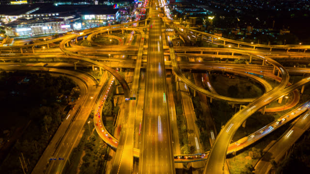 Hyperlapse top view roundabout interchange of a city