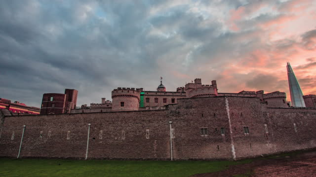 hyperlapse tracking around the tower of london - tower of london stock videos & royalty-free footage