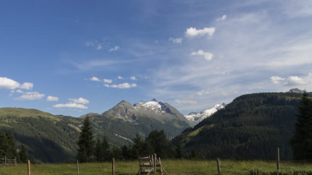 Hyperlapse - tracking shot along mountain landscape, meadow, evergreen trees and lake in Tirol