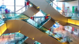 Hyperlapse video of escalator in a shopping mall