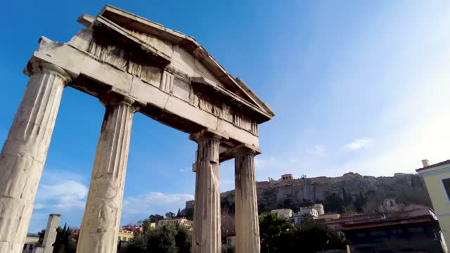 hyperlapse video of the ancient roman market in athens, greece - film composite stock videos & royalty-free footage