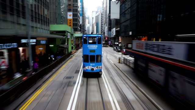 Hyperlapse view moving through the streets Hong Kong city.