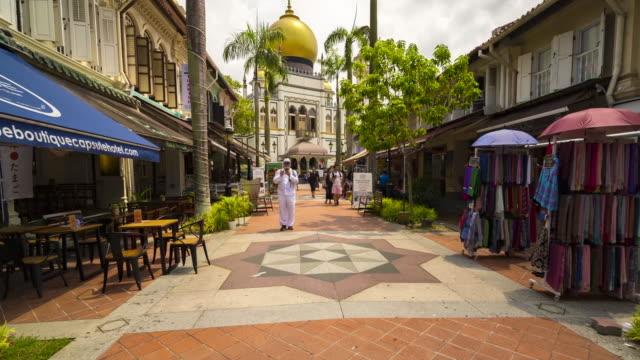 hyperlapse walking through arab street to masjid sultan, singapore - religion stock videos & royalty-free footage