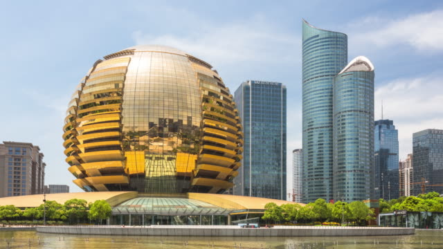 4K Hyperlapse:Hangzhou cityscape with modern archtitecture,China