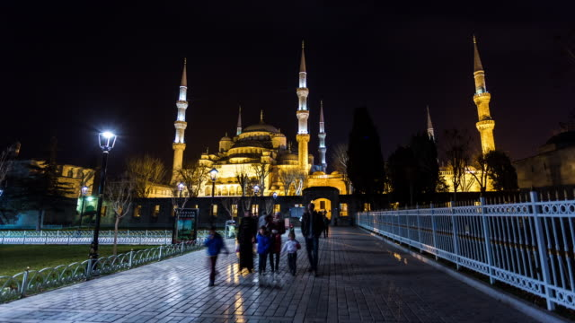 ISTANBUL - CIRCA 2014: Hyperlpase, Time Lapse of the Blue Mosque during the night in Istanbul, Turkey