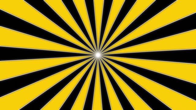 hypnotic twist animierte bewegungsgrafik von comic-gefüttertem sunburst, starburst, pinwheel rotierender und sich drehender infinity-loop im retro-vintage-stil stock-video - gelb stock-videos und b-roll-filmmaterial