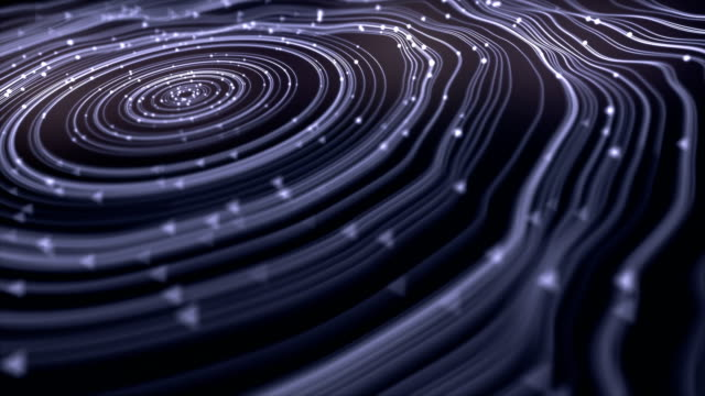 Hypnotic wavy white rings on a dark background. Computer generated animation. 3d rendering. 4K, Ultra HD resolution