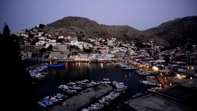 Hyrdra Island, Greece at dusk
