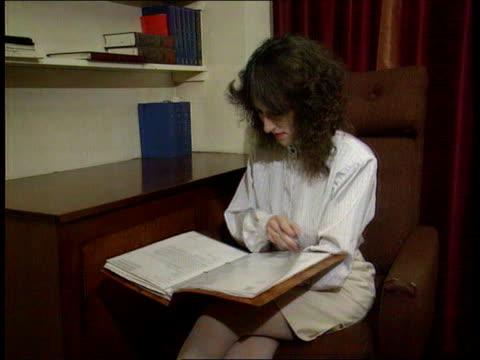 illegal abortion charge england nottinghamshire suttoninashfield cms barbara whiten sitting reading - abtreibung stock-videos und b-roll-filmmaterial