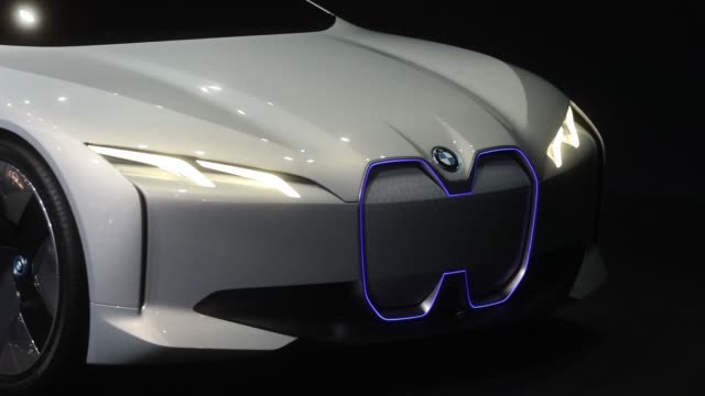 A BMW i Vision Dynamics electric automobile manufactured by Bayerische Motoren Werke AG sits on display during the second media preview day of the...