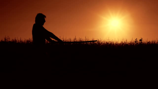 hd: iaido practice at the sunset - in silhouette stock videos & royalty-free footage
