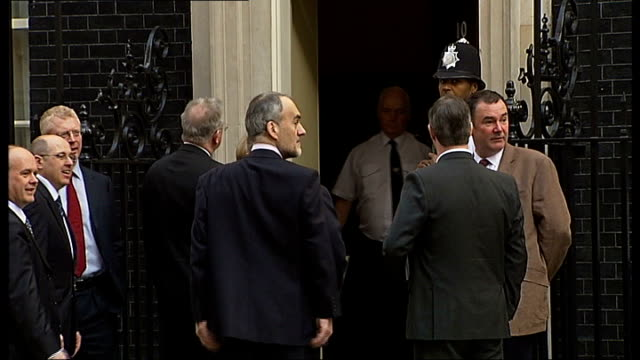 iain duncan smith joins mps protesting closure of hospital departments england london downing street ext group of mps arriving at number ten to... - petition stock-videos und b-roll-filmmaterial