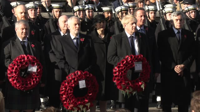 ian blackford, jeremy corbyn, boris johnson, gordon brown the national service of remembrance on november 10, 2019 in london, england. - gordon brown stock-videos und b-roll-filmmaterial